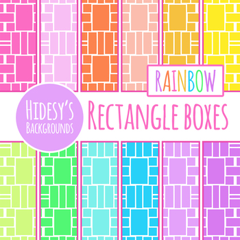 Rainbow Rectangle Medly Digital Paper / Backgrounds Clip Art Set