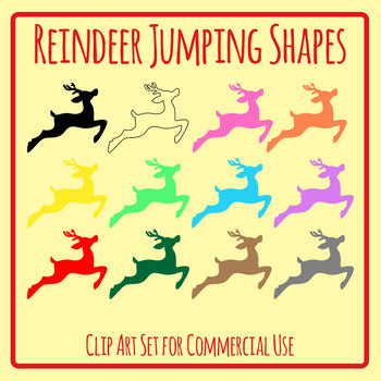 Rainbow Reindeer Christmas Shapes for Sorting Etc Clip Art Commercial Use