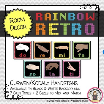 Rainbow Retro Classroom Decor - Curwen/Kodaly Handsign Posters
