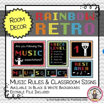 Rainbow Retro Classroom Decor - Music Rules and Classroom Signs