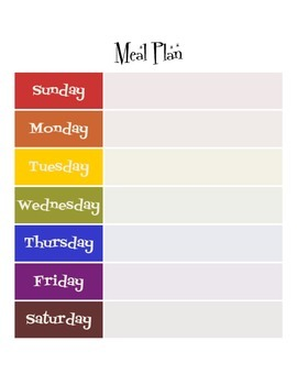 Rainbow Retro Free Weekly Meal Plan Printable Template