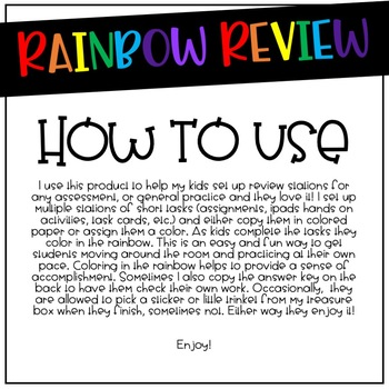 Rainbow Review - For Any Type of Review