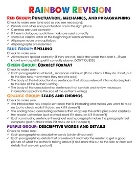 """""""Rainbow Revision"""" -a lesson plan for teaching revision to"""