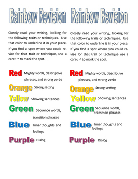 Rainbow Revision for Narrative Writing to encourage close writing