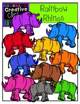 Rainbow Rhinos {Creative Clips Digital Clipart}