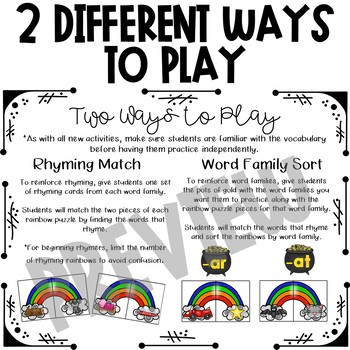 Rainbow Rhyming and Word Families - Literacy Center