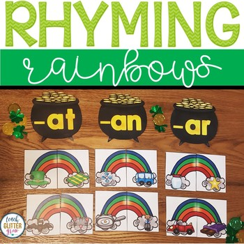 March Rhyming Puzzles and Word family sorting center