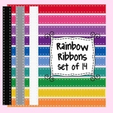 Rainbow Ribbons Clip Art Set of 10 for Commercial and Personal Use