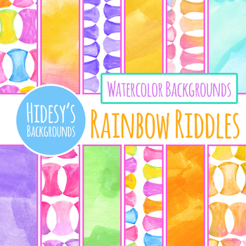 Rainbow Riddles Watercolor Digital Papers / Backgrounds Clip Art Set
