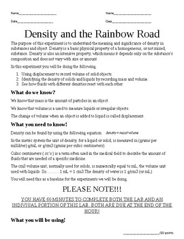 Rainbow Road - Displacement and Density of Fluids and Objects