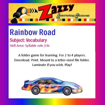 Rainbow Road Folder Game Vocabulary /cle syllable