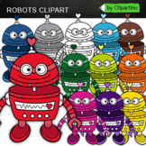 Rainbow Robots Clipart 2