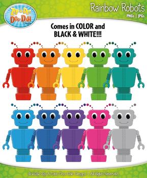 Rainbow Robots Clipart {Zip-A-Dee-Doo-Dah Designs}