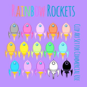 Rainbow Rockets Clip Art Set for Commercial Use