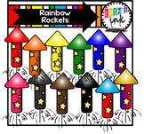 Rainbow Rockets Clipart (Erin's Ink Clipart)