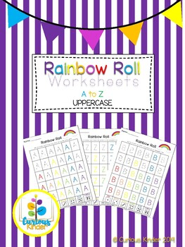 Rainbow Roll Handwriting Worksheets Uppercase Letters (Color and BW)