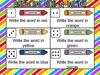 Rainbow Roll-N-Write Reading Street Kindergarten Words