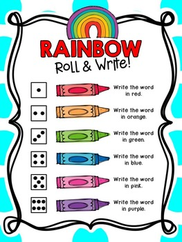 Rainbow Roll and Write Activity FREEBIE