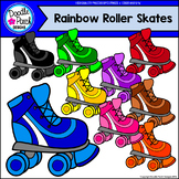 Rainbow Roller Skates Clip Art Set - Doodle Patch Designs