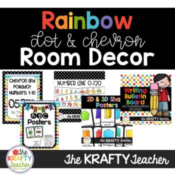 Rainbow Room Decor Bundle   Dots and Chevron
