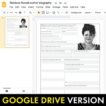 Rainbow Rowell Author Study Worksheet, Easy Rowell Biography Activity, CCSS