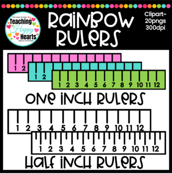 Rainbow Rulers Clipart {one inch & half inch}