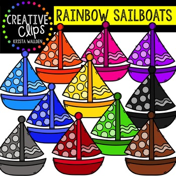 Rainbow Sailboats: Summer Clipart {Creative Clips Clipart}