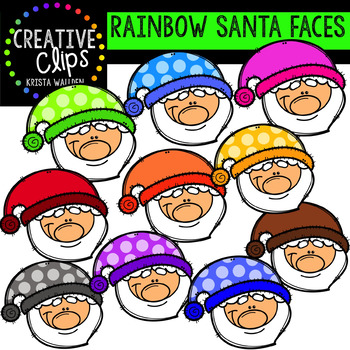 Rainbow Santa Clipart: Faces {Creative Clips Clipart}