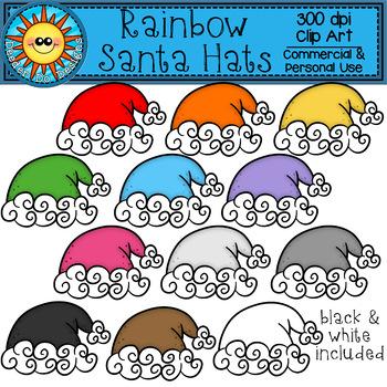 Rainbow Santa Hat Clip Art