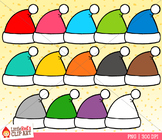Rainbow Santa Hats Christmas Clip Art