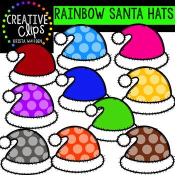Rainbow Santa Clipart: Hats {Creative Clips Clipart}
