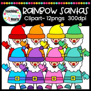 Rainbow Santas Clipart