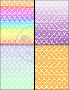 Rainbow Scales Paper & Backgrounds - 22 Color Options (Easy TOU)