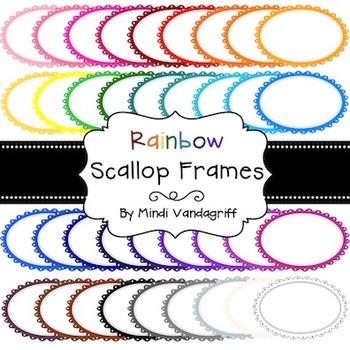 Rainbow Scallop Digital Frames
