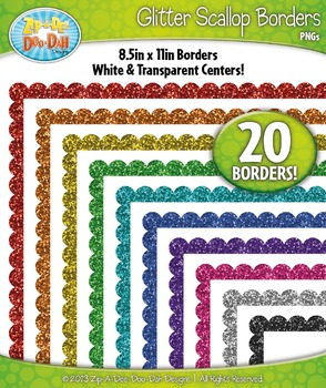 Rainbow Scallop Glitter Frame Borders Set 1  — Includes 20 Graphics!