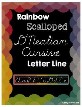 Rainbow Scalloped D'Nealian Cursive Letter Line!