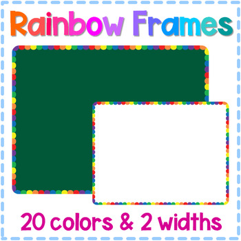Rainbow Scalloped Frame Set - 40 Colorful Borders for Personal & Commercial Use