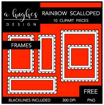 FREE Rainbow Scalloped Frames Clipart {A Hughes Design}