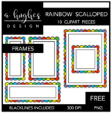 FREE Rainbow Scalloped Frames Clipart {A Hughes Design}