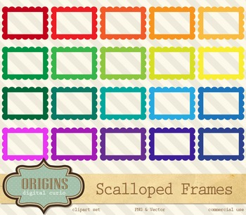 Rainbow Scalloped Rectangle Frames Clipart