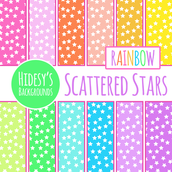 Rainbow Scattered Stars Digital Paper / Backgrounds Clip Art for Commercial Use