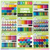 Rainbow School Clip Art BUNDLE II - 200 images!