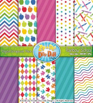 Rainbow School Digital Scrapbook Pack (10 Pages)