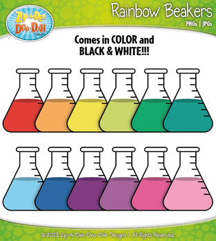 Rainbow Science Beakers Style 1 Clip Art Set — Includes 18