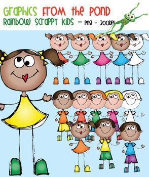Rainbow Scrappy Kids - Clipart for Teachers