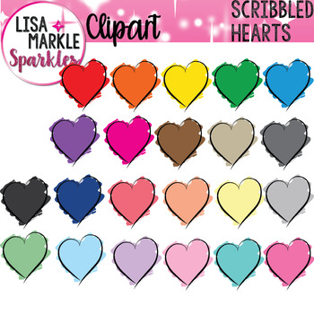 Rainbow Scribble Heart Clipart for Valentine's Day