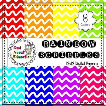 Rainbow Scribbles - Digital Paper Pack