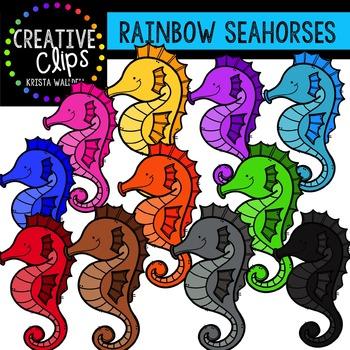 Rainbow Seahorses {Creative Clips Digital Clipart}