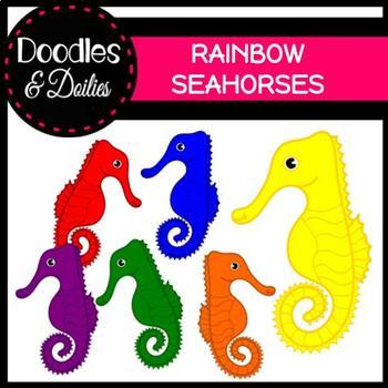Rainbow Seahorses {Doodles and Doilies Clipart}