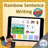 Rainbow Sentence Writing **SET 1** BOOM Cards™ for Distance Learning